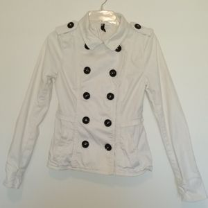 Divided By H&M White Denim Jacket Coat Buttons